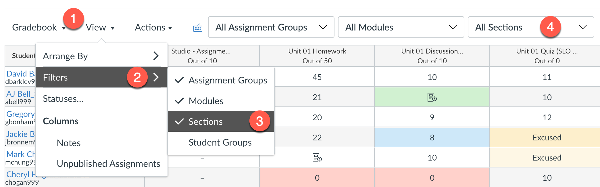 Add the Sections filter in the Gradebook