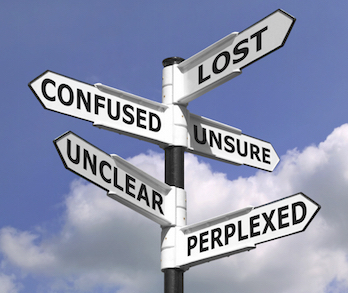 """Multiple street signs on single pole, reading """"Lost, Confused, Unsure, Unclear, Perplexed"""""""