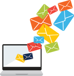 Illustration of colored envelopes coming out of laptop screen (too much email)