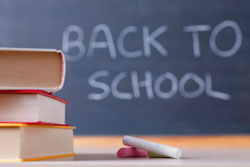 Back To School - image of books and chalkboard
