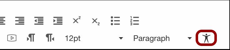 Accessibility Checker icon in editor toolbar