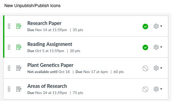 New Publish/Unpublish icons