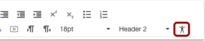 Rich Content Editor toolbar with Accessibility icon highlighted