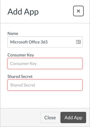 Offce 365 Add App - enter Key and Secret