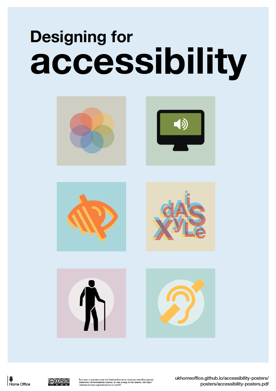 General guidance on how to design more accessible services. The guidance covers best design practices for users from these areas: low vision, D/deaf and hard of hearing, dyslexia, motor disabilities, users on the autistic spectrum and users of screen readers.